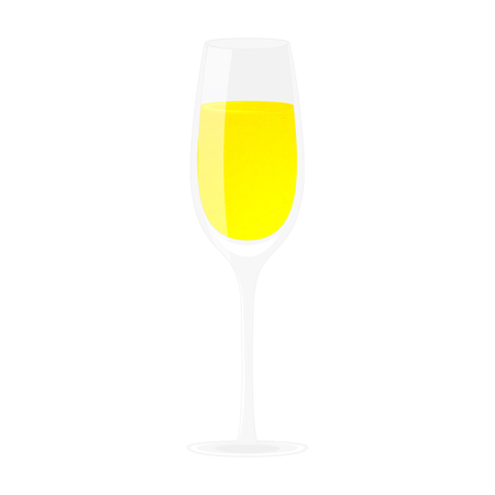 Glass of champagne. Alcohol drink. Isolated on white illustration. Cartoon style.