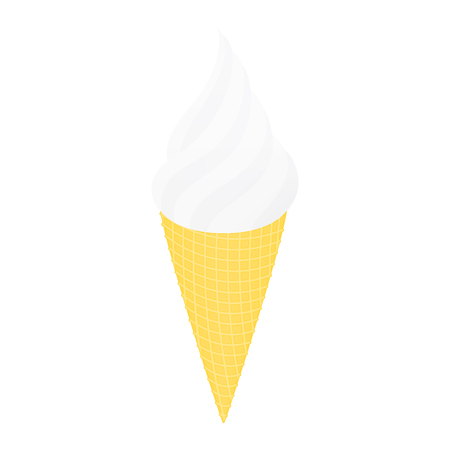 cornet: Ice cream in a conical cup. Isolated on white illustration.