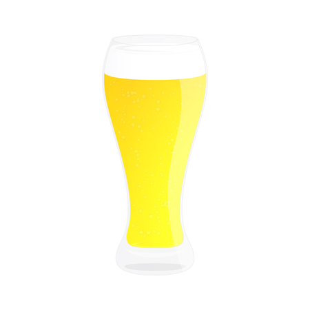 Glass of beer. Alcohol drink. Isolated on white illustration. Cartoon style.