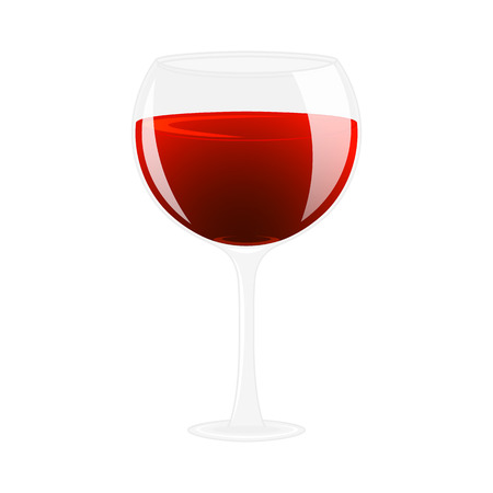 cabernet: Glass of wine. Alcohol drink. Isolated on white illustration. Cartoon style.