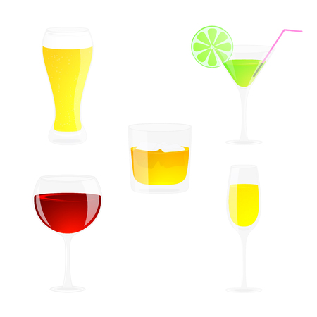 Set of of alcoholic drinks. Beer, cocktail, wine, champagne, whiskey illustration. Isolated on white. Cartoon style.