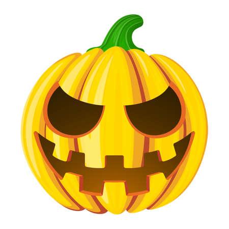 Pumpkin for Halloween. Isolated on white vector illustration. Cartoon style.
