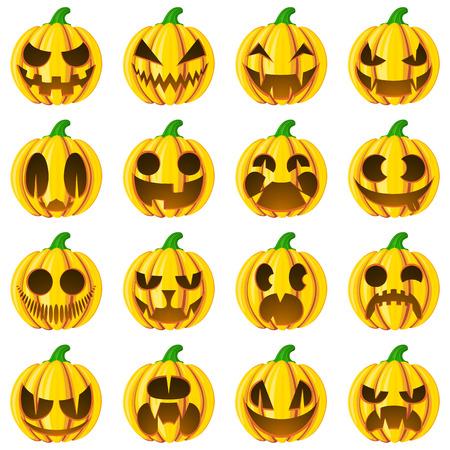 Set pumpkins for Halloween. Isolated on white vector illustration. Cartoon style.