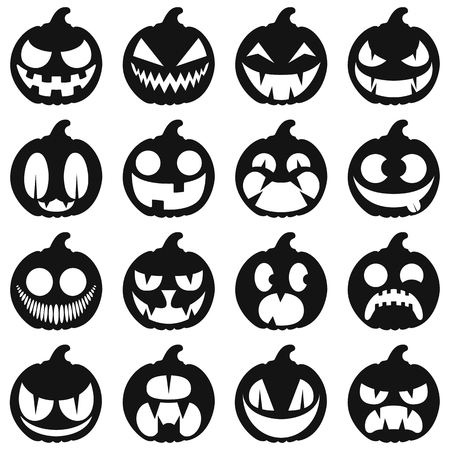 Set pumpkins for Halloween. Isolated on white vector icons. Cartoon style.