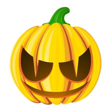 Pumpkin for Halloween. Isolated on white vector illustration. Cartoon style.