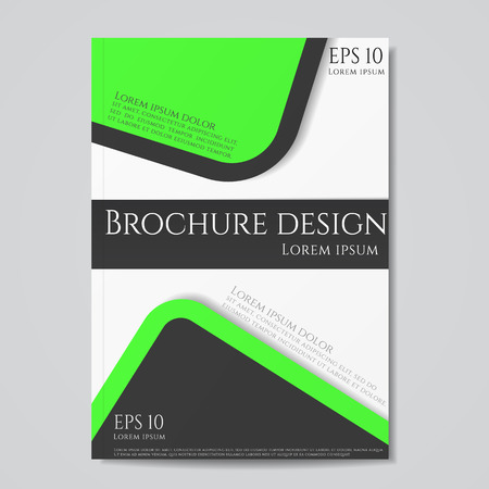 flyer brochure design geometric template abstract. Black green color. Иллюстрация