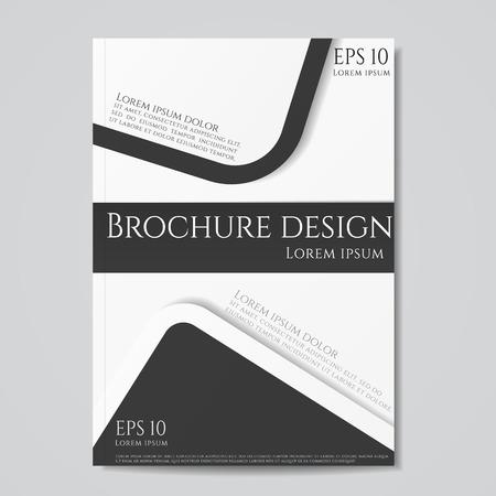 flyer brochure design geometric template abstract. Black white color. Иллюстрация