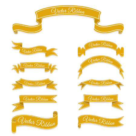Set of bronze banner ribbons.