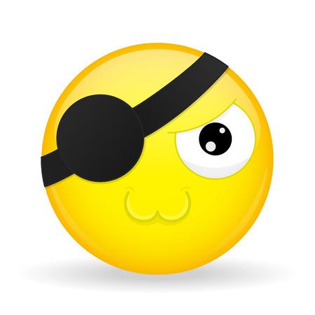 Cute pirate emoji.  Melt emotion. Sweet emoticon. Cartoon style.
