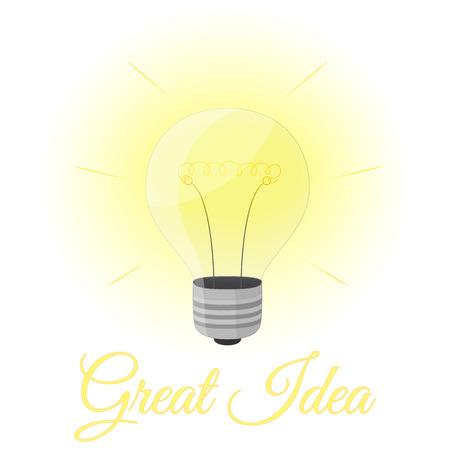 Great idea light bulb. Cartoon style.