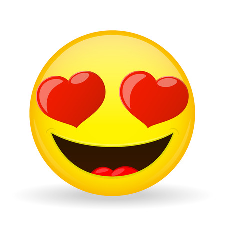 Emoji in love. Emotion of happiness. Amorously smiling emoticon. Cartoon style.
