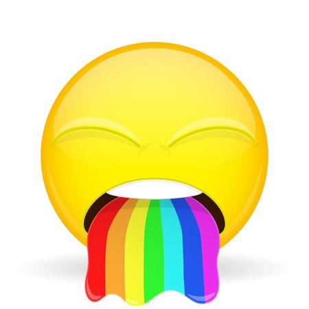 emoji vomitar. La emoción de disgusto. Spew emoticono arco iris. estilo de dibujos animados. Ilustración de vector
