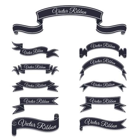 Set of dark blue banner ribbons.