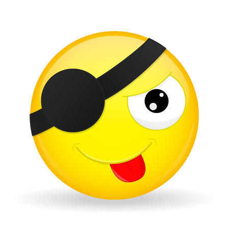 Cute pirate emoji. Tease emotion. Put out tongue emoticon. Cartoon style. Illustration