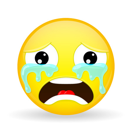 bellow: Crying emoji. Emotion of grief. Weeping emoticon. Cartoon style. Illustration