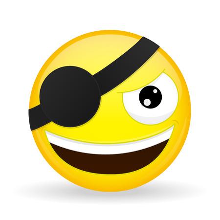 Smiling pirate emoji. Happy emotion. Villain emoticon. Cartoon style.