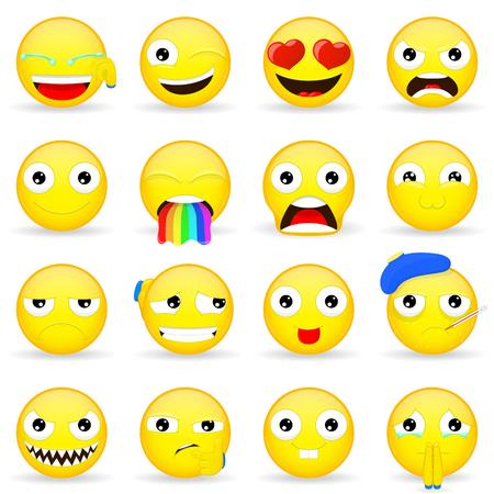 supplicate: Emoji set. Emoticon set. Cartoon style.