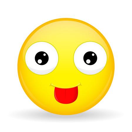 Show tongue emoji. Tease emotion. Put out tongue emoticon. Cartoon style.