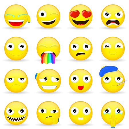 Emoji set. Emoticon set. Cartoon style.