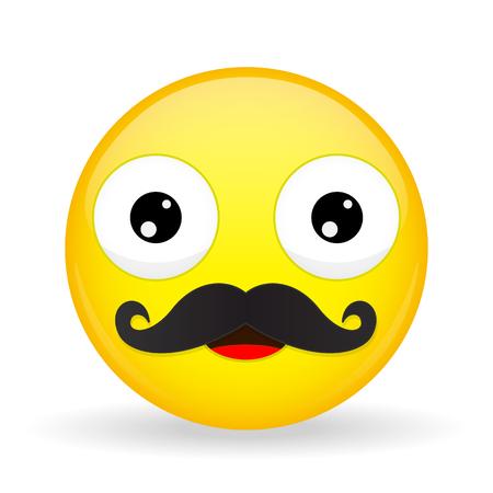 Mustache emoji. Happy emotion. Dad emoticon. Cartoon style. Illustration