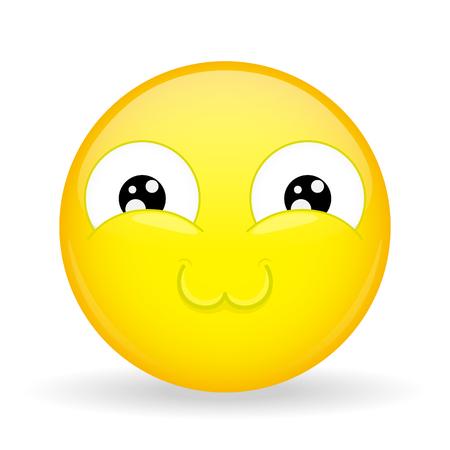 overtone: Very cute emoji. Melt emotion. Sweet emoticon. Cartoon style.