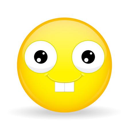 Nerd emoji. Happy emotion. Rabbit smile emoticon. Cartoon style. Иллюстрация