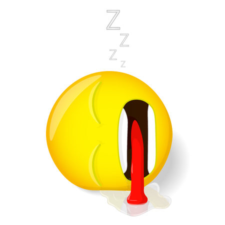 tiredness: Sleeping emoji. Emotion of tiredness. Emoticon lies with his tongue hanging out and the current from his mouth saliva. Cartoon style.