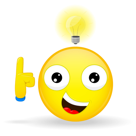 idea: I have an good idea emoji. Emotion of happiness. Emoticon with a light bulb over his head. Cartoon style.