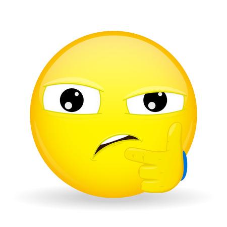desconfianza: El dudar emoji. La emoción de la desconfianza. Ante la sospecha de emoticon. estilo de dibujos animados. Vectores