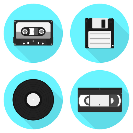 Set of vintage information carriers icons. Set of icons. Иллюстрация