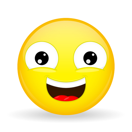 overtone: Laughing emoji. Emotion of happiness. Sweet smile emoticon. Cartoon style.