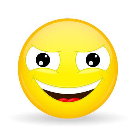 Wickedly grinning emoji. Emotion of gloating. Smirking emoticon. Cartoon style. Illustration