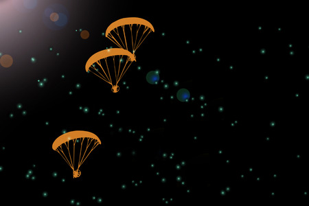 Feel free to fly, paramotor silhouette in dark space background Фото со стока