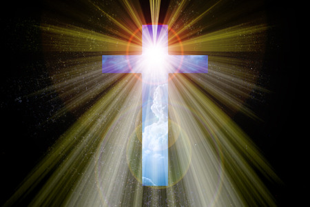dispel: Light expel darkness concept background, Light from sky or heaven shine trough space area crucifix form