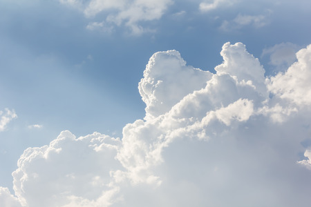 puffy: Beautiful light blue sky with puffy white clouds in happy morning day with fresh holiday and freedom feeling