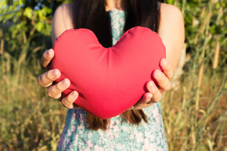 heart of love: Two hands gently raise and hold red heart with love and respect with background of nature in brown colour tone  for valentine or take care with love concept idea