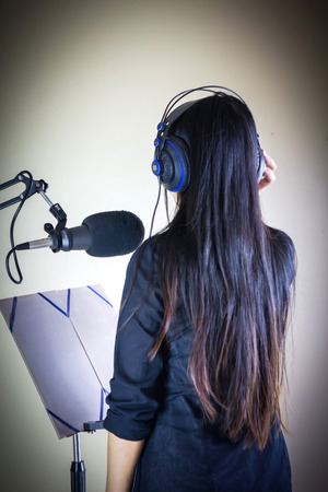 narrator: voice recording or singing training concept