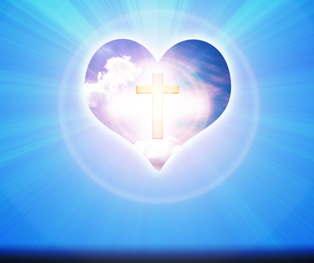 crucifix: Crucifix and light on heart background