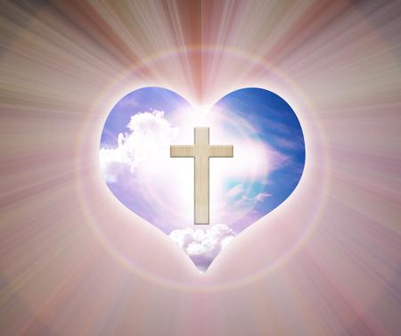 kruzifix: Kruzifix und Licht auf Herz Hintergrund Lizenzfreie Bilder