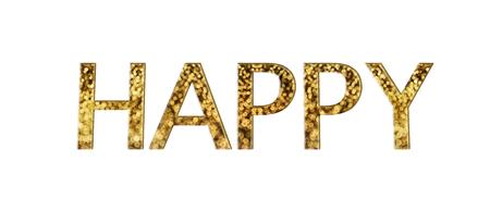 disseminate: Beautiful shining glow bokeh text happy gold font