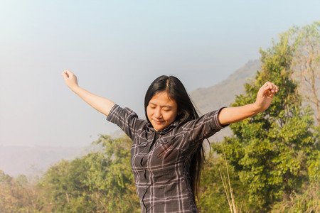 meditaion: Women relax in nature, freedom concept