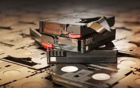 video cassette tape: Sepia antique colour abandoned pile of old useless mini DV (video recording cassette tape) Stock Photo