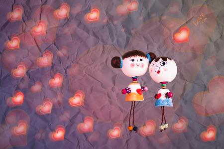 sweet background: Sweet love couple dool on heart pattern romantic background