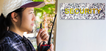 govern: Women and radio communication, security work or communication concept Stock Photo