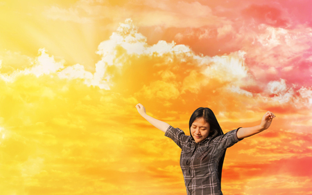 women and dreamy fantasy colour sky in concept of freedom, believe and cheerful