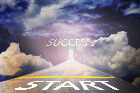 fulfil: Business concept road to success with text in sunlight sky background and copy space Stock Photo