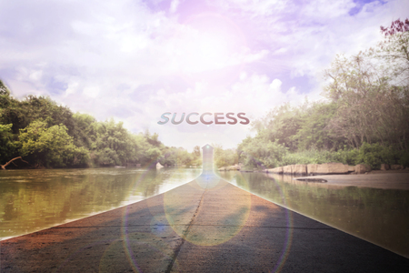 fulfil: Business concept road to success with text in sunlight sky on river forest background and copy space