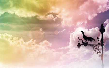 sihlouette: Chicken lamp sihlouette on dreamy fantasy sweet colour sky background with copy space