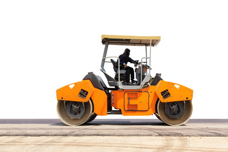 steamroller: Isolated road roller; steamroller on under construction asphalt road on white