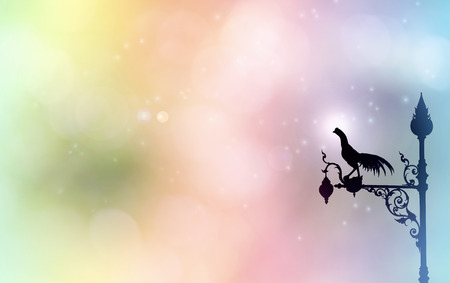 sihlouette: Chicken lamp sihlouette on dreamy fantasy sweet colour background with copy space Stock Photo